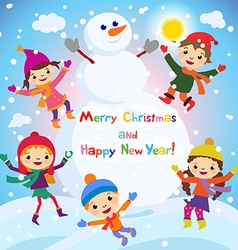Shiny christmas background with funny snowman and vector image