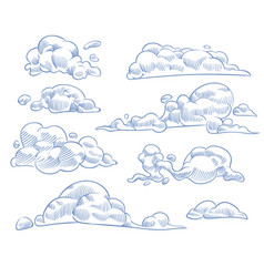 sketch clouds curled cloudy sky drawing texture vector image