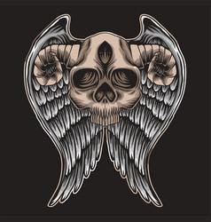skull horn wing vector image