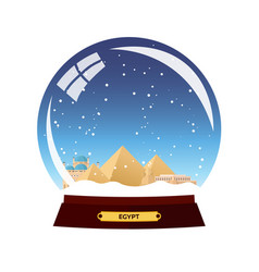 snow globe city egypt in snow globe winter vector image