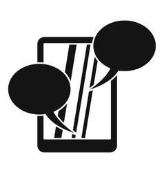 Speech bubble on phone icon simple style vector image