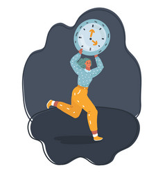 stress - woman running late with clock on arm vector image