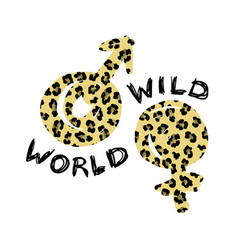 t-shirt print with word wild world and symbols of vector image