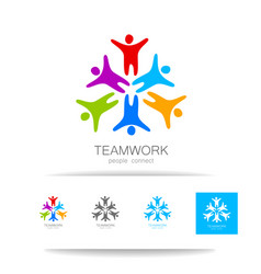 teamwork people connect design template vector image