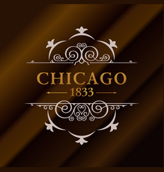 Vintage gold hipster label with lettering chicago vector