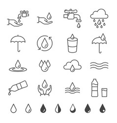 Water and drop icon set in thin line style vector