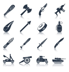 Weapon icons black set vector image