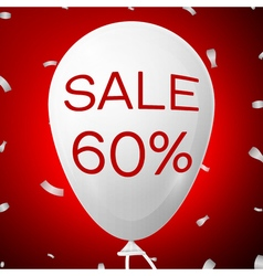 White baloon with text sale 60 percent discounts vector