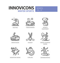 Winter sports - line design icons set vector