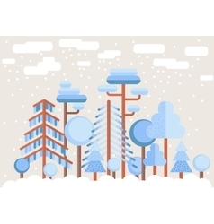 Winter tree forest flat vector
