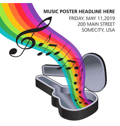 A rainbow of music flows from a guitar case vector