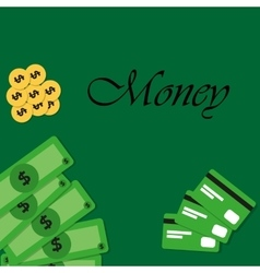 Background with money and credit cards vector