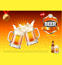 Beer ads two toasting frothy mugs on gold vector