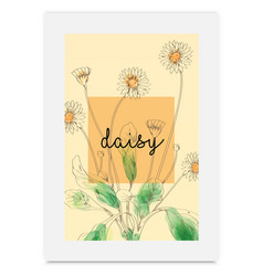 daisy hand drawn painted watercolor vector image