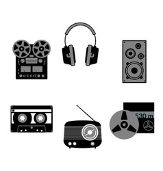 Grayscale music icons vector image vector image