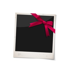 Polaroid photo frame with bow red ribbon vector image
