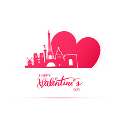 red heart and silhouette of paris city vector image vector image