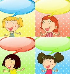Speech bubbles and cute girls vector image vector image
