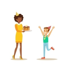 Woman Presenting A Cake To A Boy Kids Birthday vector image