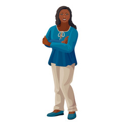 beautiful afro-american woman in blue blouse and vector image