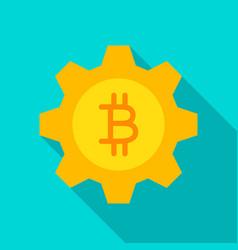 bitcoin gear flat icon vector image