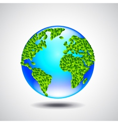 Blue globe earth from small green leaves ecology vector