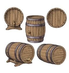 Collection of wine rum beer classical wooden vector image