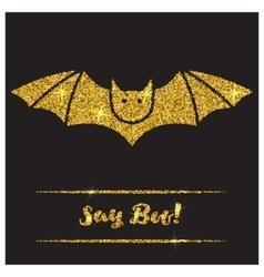 Halloween gold textured bat icon vector image