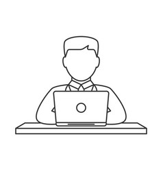 man working on laptop line icon vector image
