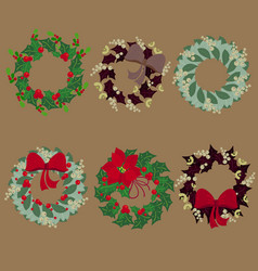 set of christmas wreaths vector image