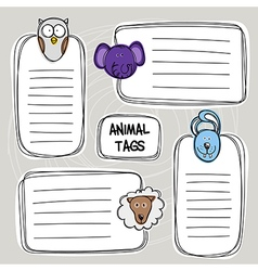 set of hand drawn funny doodle tags with animals vector image vector image