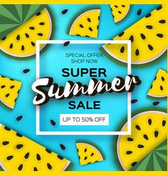 Yellow watermelon super summer sale banner in vector