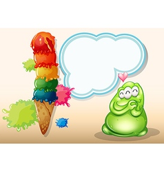 A fat three-eyed green monster near the big vector image vector image
