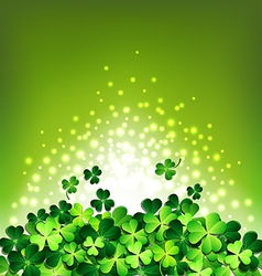 Abstract light on Shamrock for Patricks day card vector image vector image