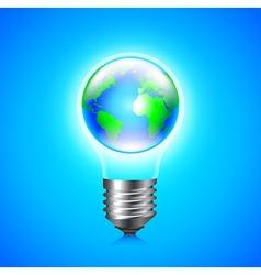 Earth globe inside light bulb environment concept vector image