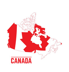 flag and map of canada vector image vector image