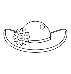 Hat with flower icon outline style vector