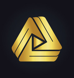 play media technology colored gold logo vector image