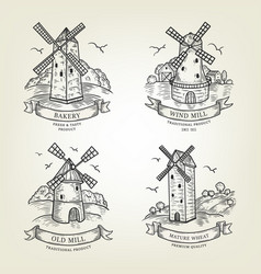 set of farm landscapes with windmills views vector image vector image