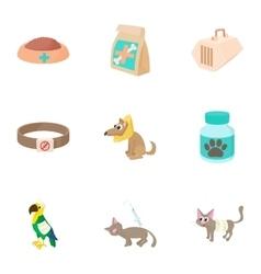 Veterinary animals icons set cartoon style vector image vector image