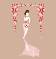 beautiful woman in a wedding dress vector image