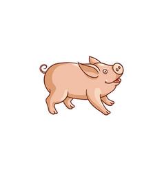 cute baby pig side view cartoon vector image