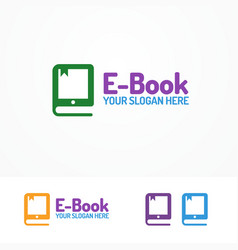 E-book logo set isolated on white background vector
