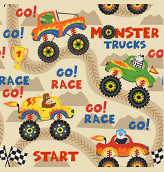 Seamless pattern monster trucks with animals vector