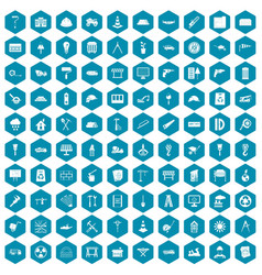 100 construction site icons sapphirine violet vector image