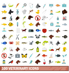 100 veterinary icons set flat style vector