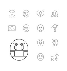 13 smile icons vector