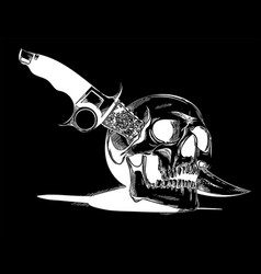 A human skull with a knife vector