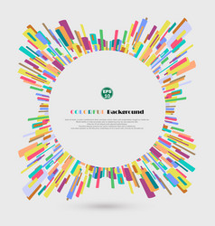 Abstract 360 degree colorful crayon lines vector