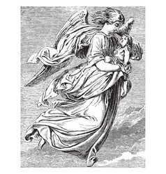 Angel carrying a small child vintage vector